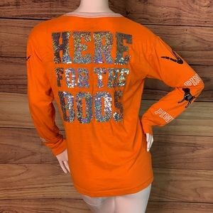 RARE Victoria secret PINK Halloween holiday bling sparkly long tee neon shimmer